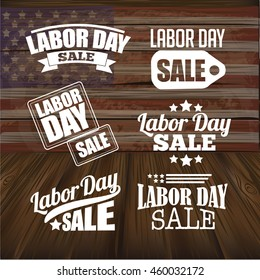 Labor Day Sale text design collection. EPS 10 vector.