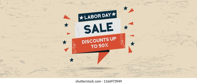 Labor Day sales promotion banner with grunge background in header image format