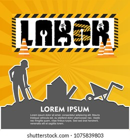Labor day typographic design with yellow background