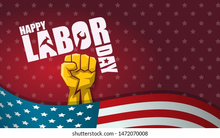 labor day Usa text vector label or horizontal background. vector happy labor day poster or horizontal banner with clenched fist isolated on usa flag background . Labor union icon