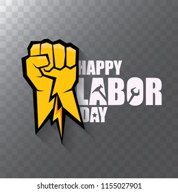 labor day Usa vector label or background. vector happy labor day poster or banner with clenched fist isolated on transparent background . Labor union icon
