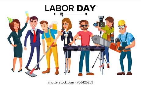 Labor Day Vector. Group Of People. Modern Jobs. Different Professions. Flat Isolated Cartoon Character Illustration