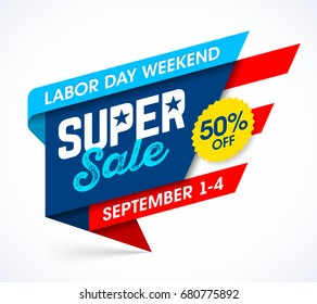 Labor Day Weekend Super Sale banner design, vector illustration
