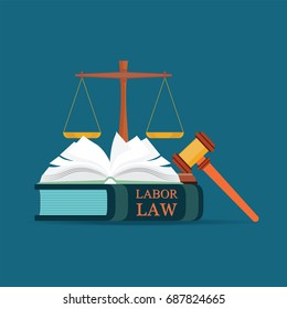 Labor Law books with a judges gavel in flat style, Conceptual  Law and justice set icon, Vector illustration.
