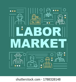 Labor market word concepts banner. Different specialties, professional occupations infographics with linear icons on green background. Isolated typography. Vector outline RGB color illustration