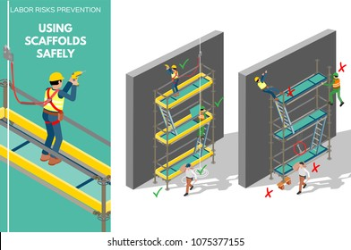 Labor risks prevention about using scaffolds safely. Isometric design infography with good and bad use of scaffolds. Vector illustration.