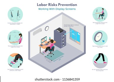 Labor risks prevention. Office works. Recomendations about working with display screens. Isometric illustration, isolated on white background.