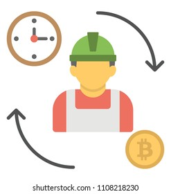 Labor with wall clock and bitcoin sign along with reversible arrows to describe the proof of capacity to work in certain time period