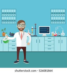 Laboratory assistant with test tube vector illustration