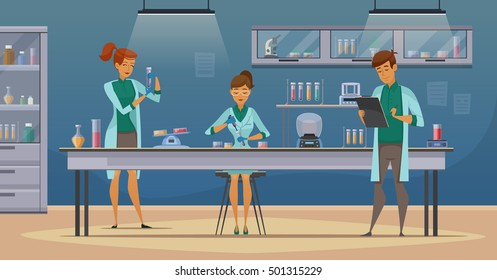 Laboratory assistants work in scientific medical chemical or biological lab setting experiments retro cartoon poster vector illustration