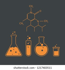 laboratory banner tool molecule icons. Test tubes vector illustration