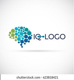 Laboratory brain logo made of circles. Brain logo design template.