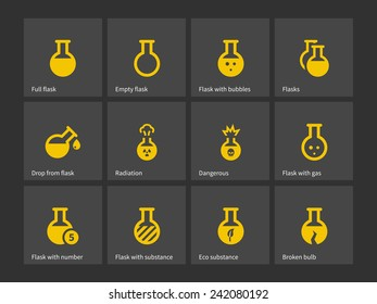 Laboratory bulb and flask icons. Vector illustration.