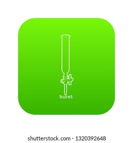 Laboratory buret icon green vector isolated on white background