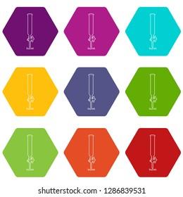 Laboratory buret icons 9 set coloful isolated on white for web