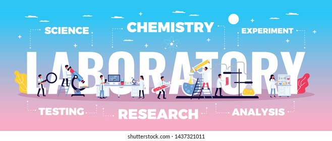 Laboratory composition with flat signs and symbols doodle style human characters of scientists and editable text vector illustration
