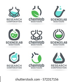 Laboratory design elements, chemistry, medicine, science - vector test tubes, chemical flasks, liquids