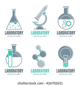 Laboratory design elements, emblems, symbols, icons, labels, badges collection. Laboratory business signs, objects, corporate identity templates, logo.