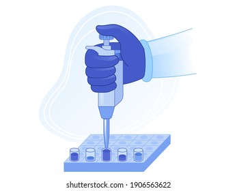 Laboratory equipment for analysis. Doctor's hand holds automatic pipette drips test liquid into bottles. Testing process for coronavirus covid-19 or diagnosing other diseases. Vector illustration