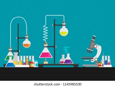 Laboratory equipment. Biology science education medical vector illustration in flat style