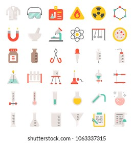 laboratory equipment, chemistry analytical concept, flat icon