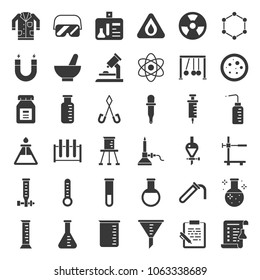 laboratory equipment, chemistry analytical concept, solid icon