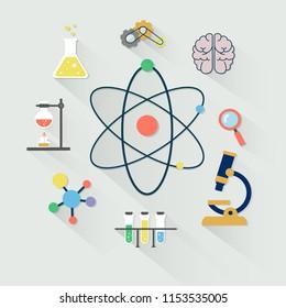 Laboratory equipment color set. Science chemistry.