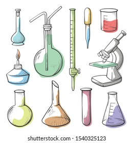 Laboratory equipment, glassware hand drawn illustrations set. Empty flasks, microscope, testing tubes collection. Pharmaceutical measurement beakers, lab instruments isolated on white background