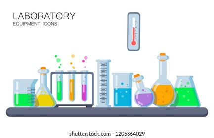 Laboratory Equipment Icons isolated on White. Flasks, Candle, Thermometer Icons. Vector Illustration. Flat Style. Decorative Design for Web, Laboratories, Study Book Illustrations, Chemistry Education