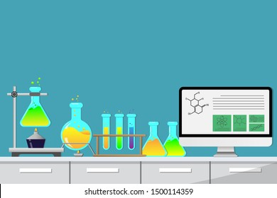 Laboratory equipment, jars, beakers, flasks, scales, spirit lamp on table. Chemical formula open in desktop computer. Biology science education medical vector illustration on light blue backgroubd.