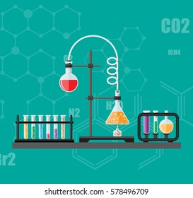 Laboratory equipment, jars, beakers, flasks, spirit lamp on table. Biology science education medical vector illustration in flat style