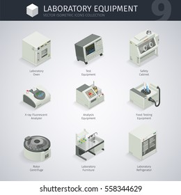 Laboratory equipment. Vector isometric icons collection. Clipping paths included.