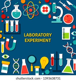 Laboratory Experiment Paper Template. Vector Illustration Flat Style Science Concept.