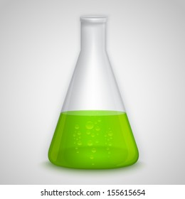 Laboratory flask with green liquid. Illustration contains gradient mesh