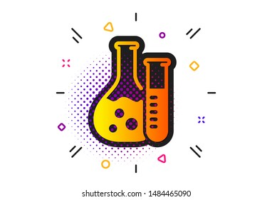 Laboratory flask sign. Halftone circles pattern. Chemistry lab icon. Analysis symbol. Classic flat chemistry lab icon. Vector