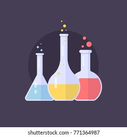 Laboratory glass flasks and test tubes with blue, yellow and pink liquid. Chemical and biological experiments. Vector illustration in flat style on dark background.