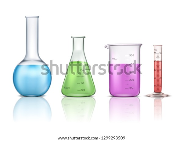 Laboratory glassware 3d realistic vector set isolated on white background. Graduated lab tube, beaker and flask filled different colors liquids illustration. Equipment for chemical test collection