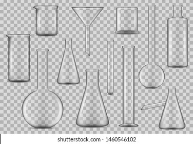 Laboratory glassware, chemical test beakers and lab liquids measure glass flasks. Vector 3d realistic mockup templates. Vector isolated chemistry and pharmaceutical laboratory equipment bottles