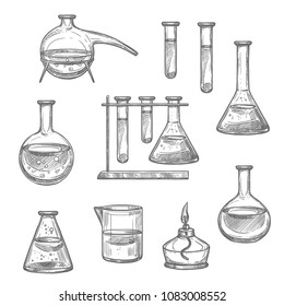 Laboratory glassware and equipment sketch set. Chemical laboratory glass flask, test tube and beaker, retort and spirit lamp isolated icon for chemical research and science experiment themes design