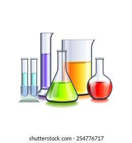 Laboratory glassware isolated on white photo-realistic vector illustration