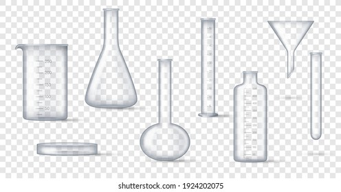 Laboratory glassware. Realistic lab beaker, glass flask and other chemical containers, 3D measuring medical equipment. Set of tools for chemistry experiments. Vector illustration