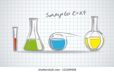 Laboratory glassware sketch eps 10 vector illustration
