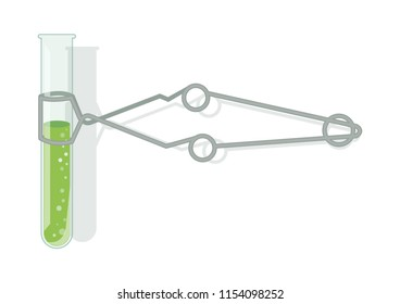 Laboratory glassware and tool vector illustration. Test tube and holder clamp. Test tube clamp.
