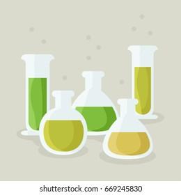 Laboratory glassware with various liquids - vector illustration
