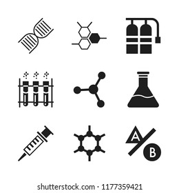 laboratory icon. 9 laboratory vector icons set. flask, syringe and molecular bond icons for web and design about laboratory theme