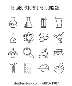 Laboratory icon set. Collection of science thin line icons. 16 high quality outline logo of lab on white background. Pack of symbols for design website, mobile app, printed material, etc.
