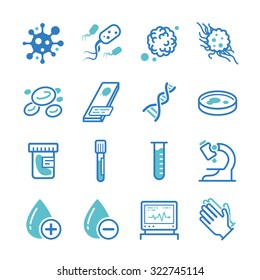 Laboratory icon set. Included the icons as virus, bacteria, lab, medical, research, technology and more.