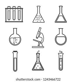 Laboratory icon set. Vector illustration, flat design.