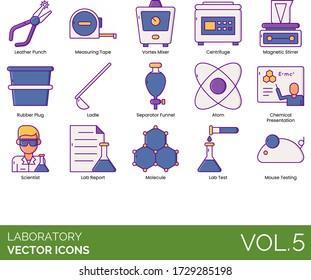 Laboratory icons including leather punch, measuring tape, vortex mixer, centrifuge, magnetic stirrer, rubber plug, ladle, separator funnel, atom, chemical presentation, scientist, lab report, molecule
