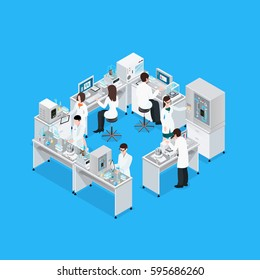 Laboratory isometric composition with workbench research equipment and group of working faceless scientist characters in uniform vector illustration